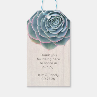Rustic Blue Succulent Thank You Guests Tag
