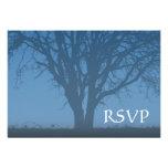 Rustic Blue Tree of Life Bar Mitzvah RSVP Invitations