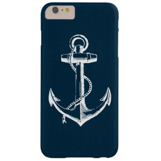 Rustic Blue Vintage Anchor Barely There iPhone 6 Plus Case