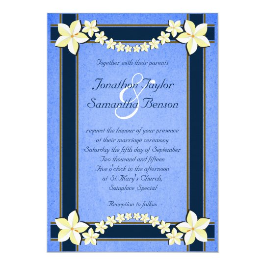 Rustic Blue White Floral Custom Wedding Invites