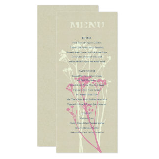 RUSTIC BLUE, WHITE, PINK COUNTRY CHARM MENU CARD