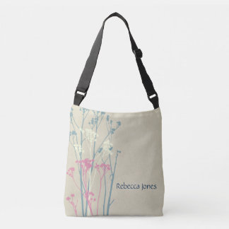 RUSTIC BLUE WHITE PINK COUNTRY CHARM MONOGRAM CROSSBODY BAG