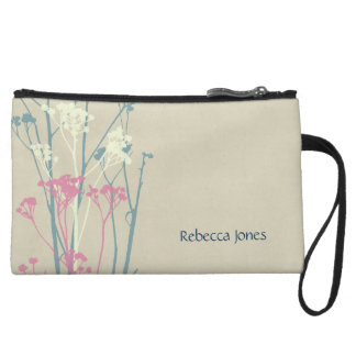 RUSTIC BLUE WHITE PINK COUNTRY CHARM MONOGRAM WRISTLET PURSES