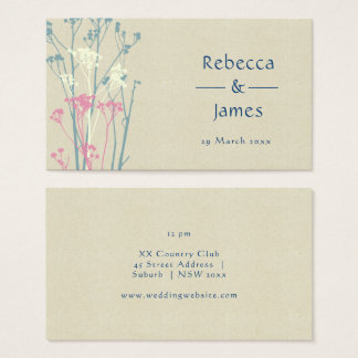 RUSTIC BLUE, WHITE, PINK COUNTRY CHARM Wedding Business Card