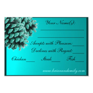 Rustic blue winter pine cone RSVP cards