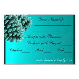 Rustic blue winter pine cone RSVP cards 9 Cm X 13 Cm Invitation Card