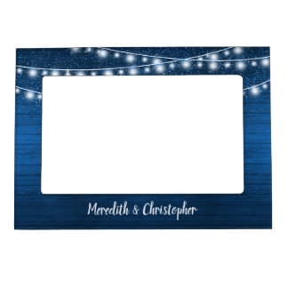 Rustic Blue Wood and String Lights Wedding Magnetic Picture Frame