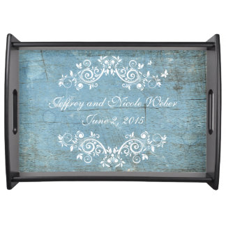 Rustic Blue Wood Flourish Party Serving Tray
