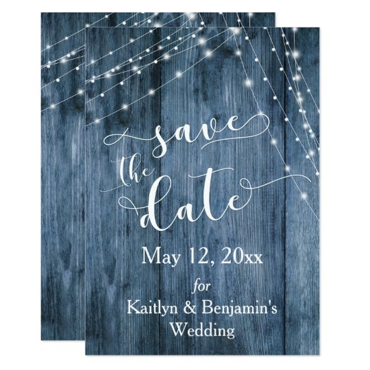 Rustic Blue Wood, Light Strings Save the Date