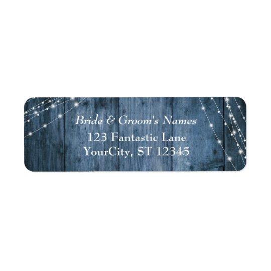 Rustic Blue Wood, White Light Strings Wedding Return Address Label