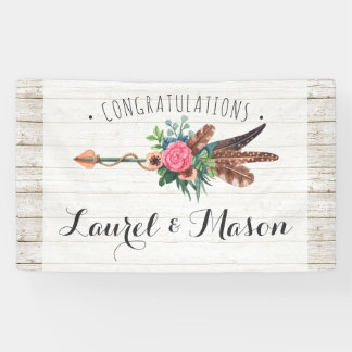 Rustic Bohemian Arrow Wedding Congratulations Sign
