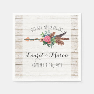 Rustic Bohemian Feathers Arrow Wedding Reception Disposable Napkins