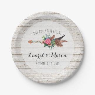 Rustic Bohemian Feathers Arrow Wedding Reception Paper Plate