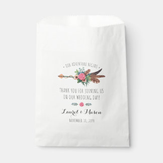 Rustic Bohemian Feathers Arrow Wedding Thank You Favour Bags