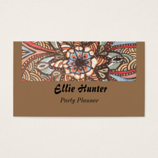 Rustic Bohemian Flower Custom  Business Cards