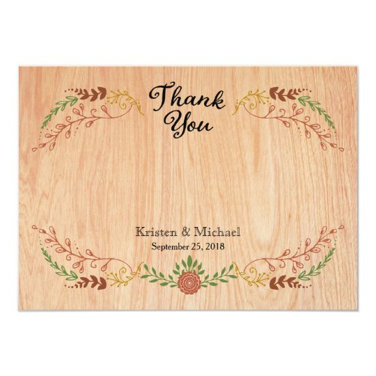 Rustic Bohemian Foliage Wreath on Wood Card