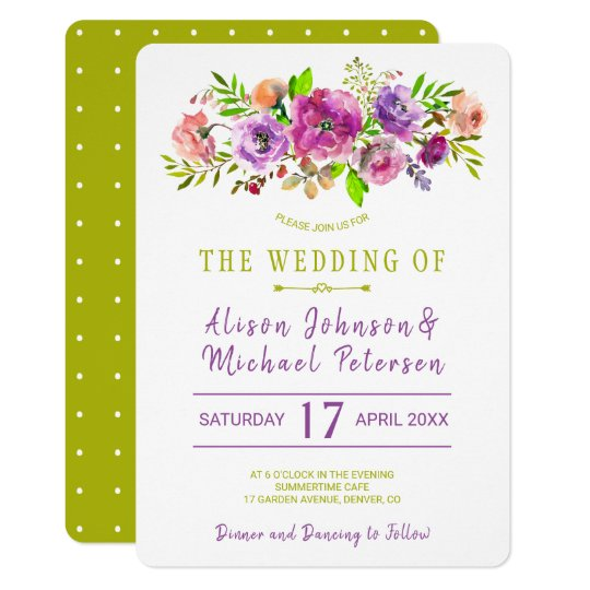 Rustic bohemian purple green floral wedding invite