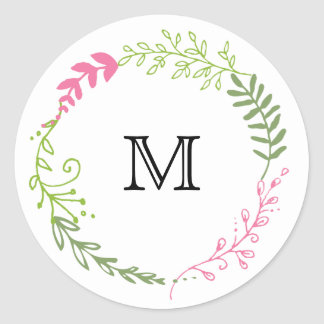Rustic Bohemian Spring Foliage Wreath Wedding Classic Round Sticker