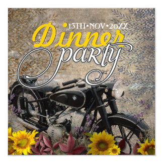 Rustic Bohemian Sunflower Motorbike Dinner Party Card