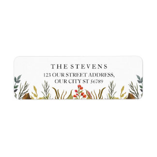 Rustic Boho Animals Watercolor Foliage Wedding Return Address Label