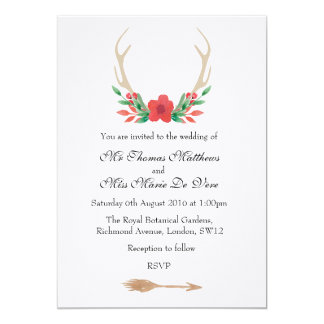 Rustic Boho Antlers and floral wedding invitation