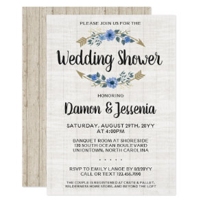 Rustic Boho Arrow Floral Wedding Shower Invitation
