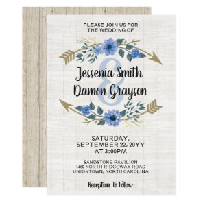 Rustic Boho Arrows & Floral Wedding Invitation