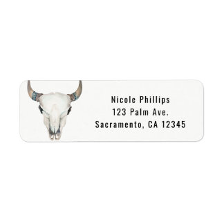 Rustic Boho Cow Skull Custom Party Invitation Return Address Label