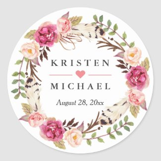 Rustic Boho Feather Floral Wreath Wedding Favour