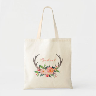 Rustic Boho Floral Antlers with Name Tote Bag