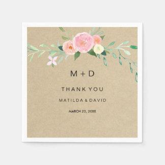 Rustic Boho Floral Thank You Wedding Napkin Paper Napkin