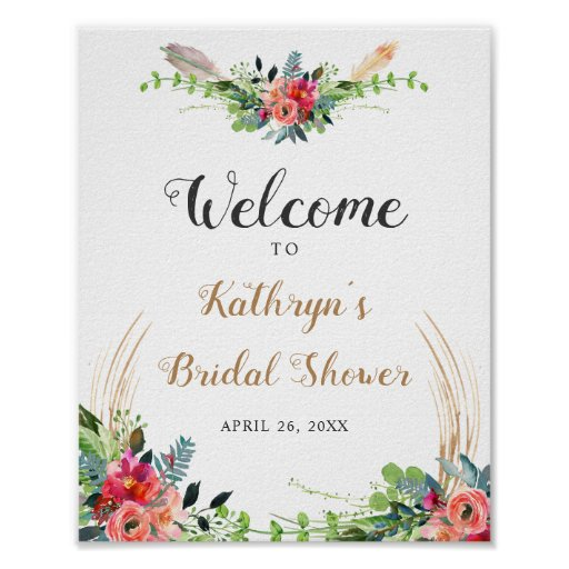 Rustic Boho Floral Watercolor Bridal Shower Sign