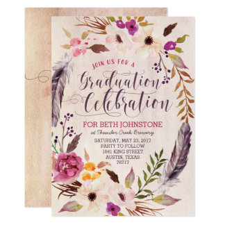Rustic Boho Floral Wreath Graduation Invitations