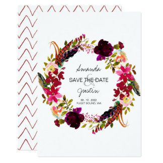 Rustic Boho Floral Wreath Save The Date Wedding Card