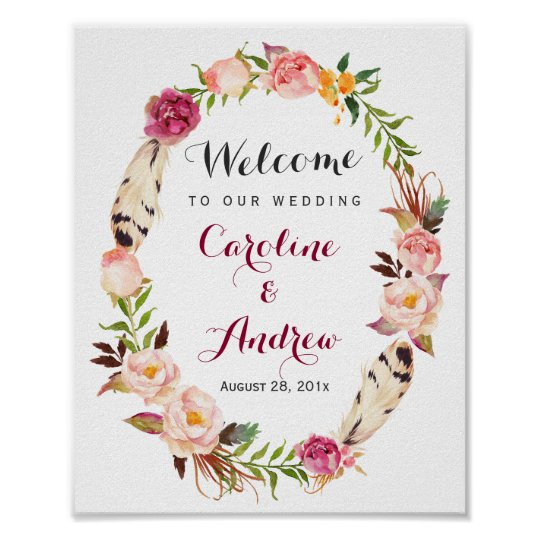 Rustic Boho Floral Wreath Welcome Wedding Sign