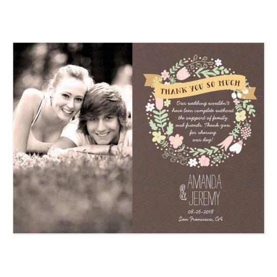 Rustic Boho Pastel Flower Wreath Thank You Postcard