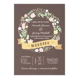 Rustic Boho Pastel Flower Wreath Wedding 13 Cm X 18 Cm Invitation Card