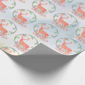 Rustic Boho Reindeer with Landscape Background Wrapping Paper