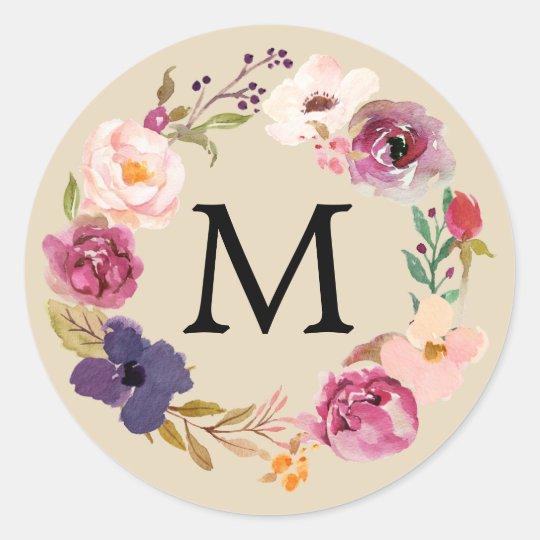 Rustic Boho Watercolor Floral Wreath Monogram Classic Round