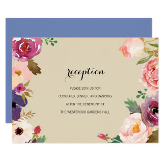 Rustic Boho Watercolor Flowers Wedding Insert Card