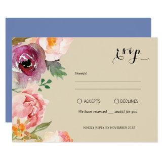 Rustic Boho Watercolor Flowers Wedding RSVP Card