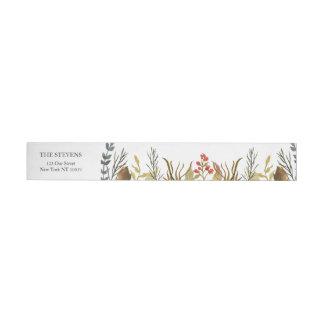 Rustic Boho Woodland Animals Watercolor Wedding Wraparound Address Label