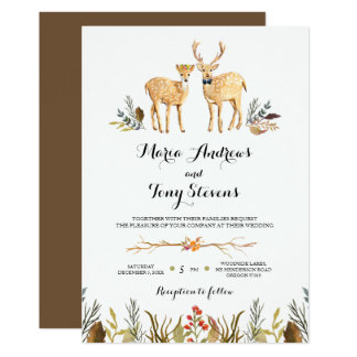 Rustic Boho Woodland Deer Watercolor Wedding Card