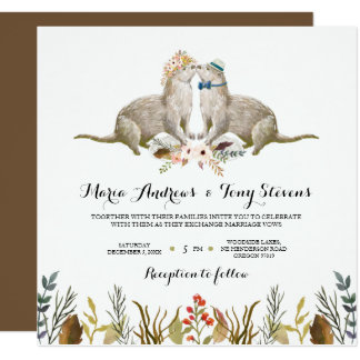 Rustic Boho Woodland Otter Watercolor Wedding Card