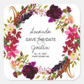 Rustic Bohohemian Wreath Save The Date Wedding Square Sticker