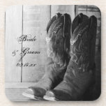 Rustic Boots Country Wedding Cork Coaster Set