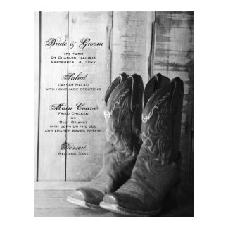 Rustic Boots Country Wedding Menu Flyer