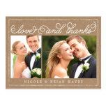 Rustic Border Wedding Thank You Card - Craft Post Card