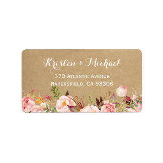 Rustic Botanical Garden Floral Kraft Wedding Address Label