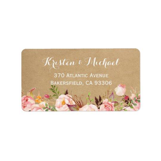 Rustic Botanical Garden Floral Kraft Wedding Address Label